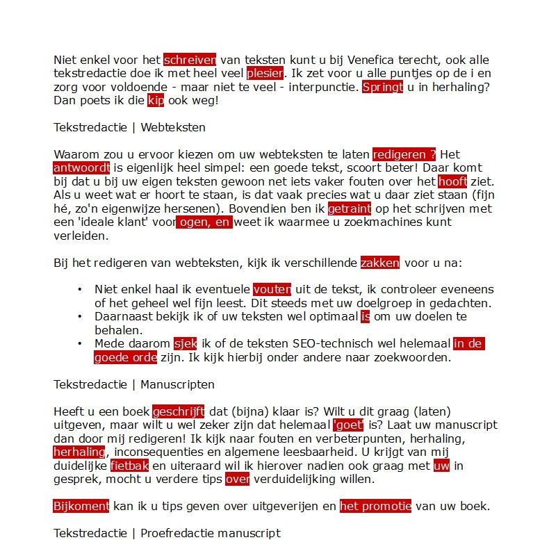 Tekstredactie - Fout